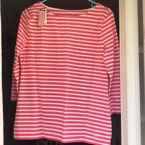 Vineyard Vines boat neck stripe stretch knit top